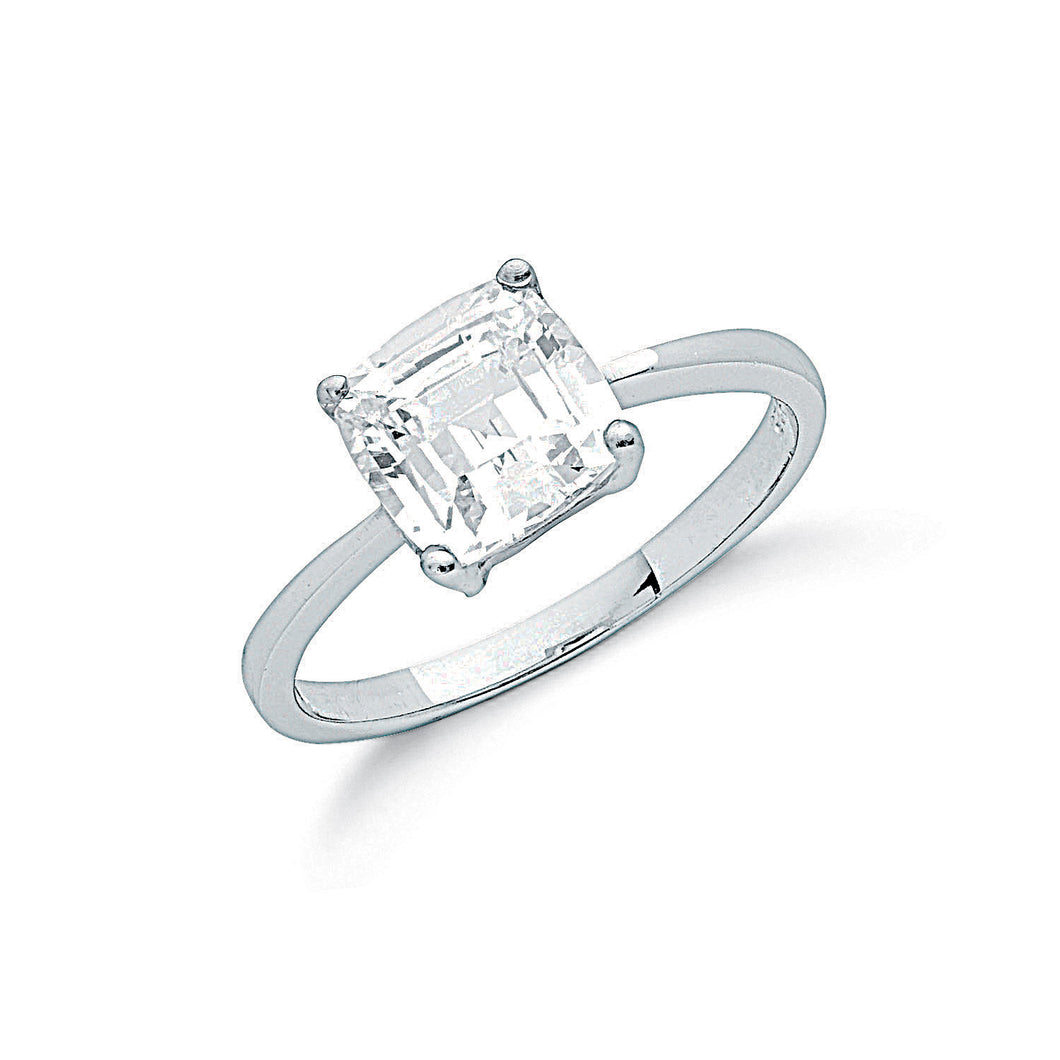 Sterling Silver and Cubic Zirconia Claw Set Princess Cut Solitaire Ring - Mon Bijoux