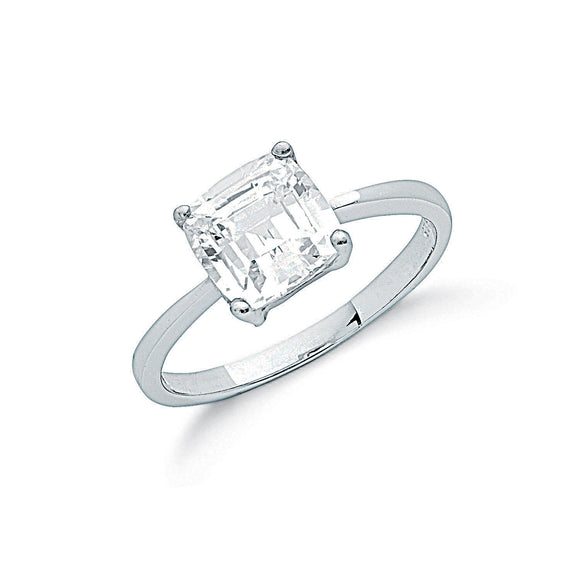 Sterling Silver and Cubic Zirconia Claw Set Princess Cut Solitaire Ring- Mon Bijoux - Mon Bijoux
