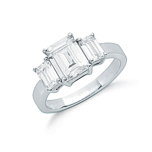 Sterling Silver and Cubic Zirconia Claw Set Emerald Cut Trilogy Ring - Mon Bijoux