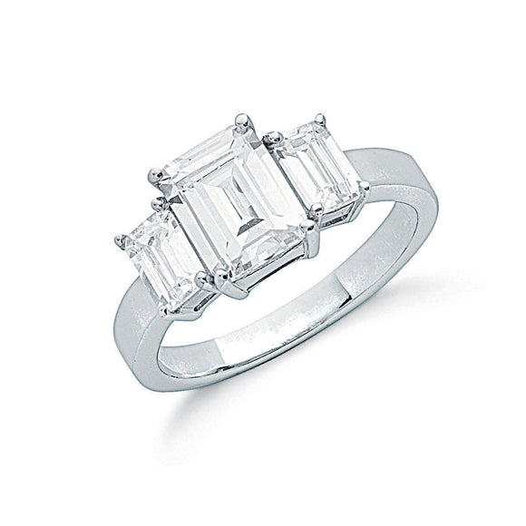 Sterling Silver and Cubic Zirconia Claw Set Emerald Cut Trilogy Ring- Mon Bijoux - Mon Bijoux