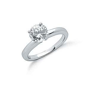 Sterling Silver and Cubic Zirconia 4 Claw Set Solitaire Ring- Mon Bijoux - Mon Bijoux