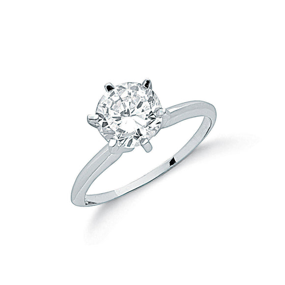 Sterling Silver and Cubic Zirconia 6 Claw Set Solitaire Ring - Mon Bijoux