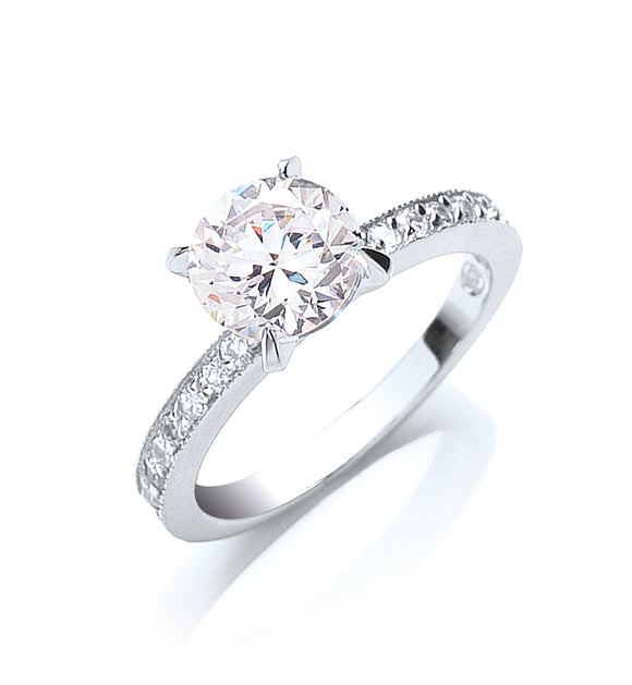 Sterling Silver and Cubic Zirconia Claw Set Micro Pave Solitaire Ring- Mon Bijoux - Mon Bijoux