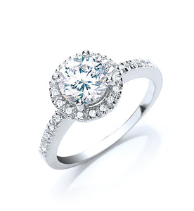 Sterling Silver and Cubic Zirconia Claw Set Micro Pave Surrounding Solitaire Ring - Mon Bijoux