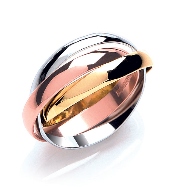 3 Interlinking Circles Rose Gold, Yellow Gold and Sterling Silver Ring- Mon Bijoux - Mon Bijoux