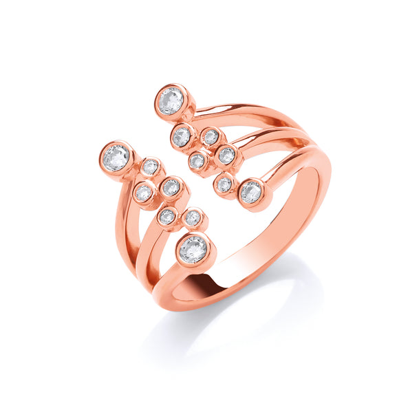 Silver and Rose Gold Vermeil with Cubic Zirconias Webbed Ring- Mon Bijoux - Mon Bijoux