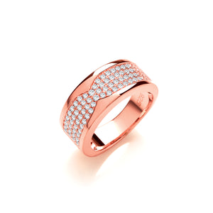 Silver and Rose Gold Vermeil Band Ring with Cubic Zirconias - Mon Bijoux - Mon Bijoux