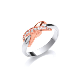 Silver and Rose Gold Vermeil with Cubic Zirconias Kiss Ring- Mon Bijoux - Mon Bijoux
