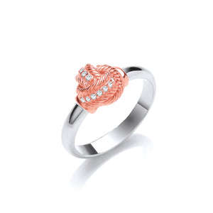 Silver and Rose Gold Vermeil Knot Ring with Cubic Zirconias - Mon Bijoux - Mon Bijoux