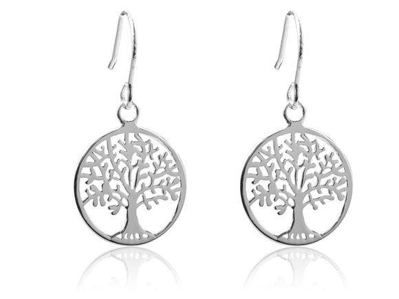 Tree of Life Drop Sterling Silver Earrings