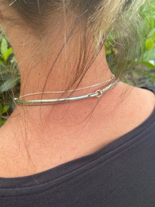 rear view of sterling silver torque necklace