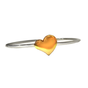 Solid Sterling Silver or Gold Vermeil Solid Heart Clasp Bangle - Mon Bijoux - Mon Bijoux