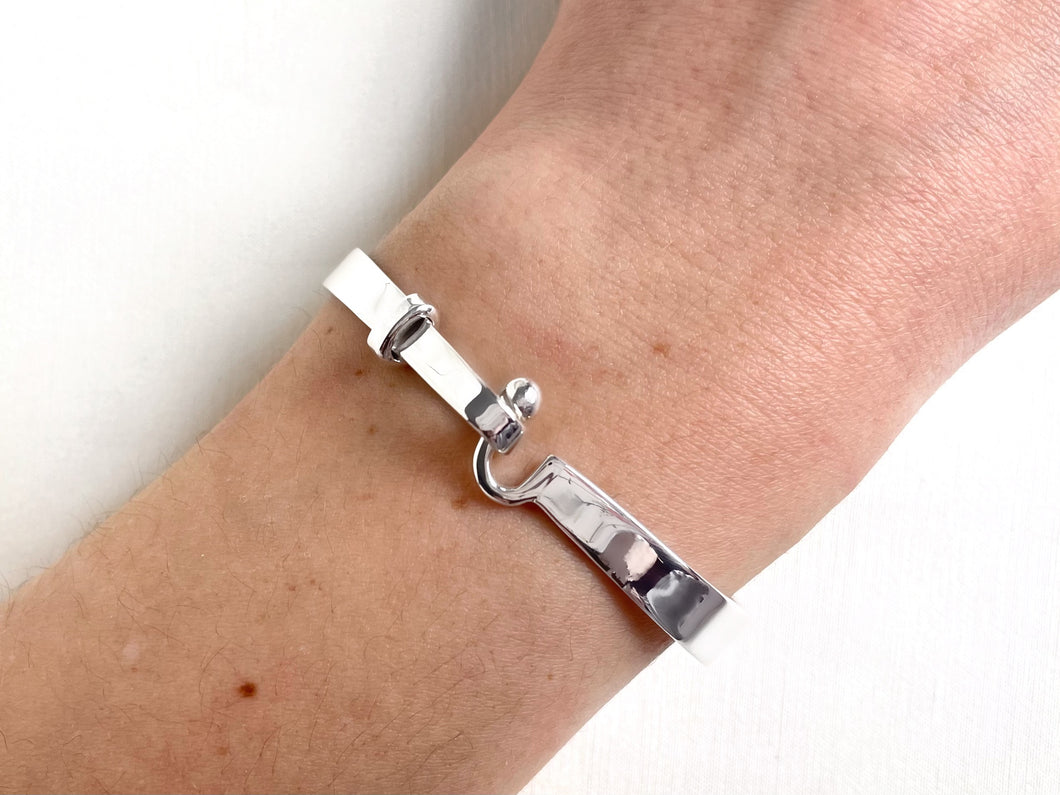 Hook and Ball Silver Bangle Tiny Wrist