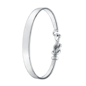 Sterling Silver Bracelet Bangle - C Hook Love Knot - Mon Bijoux