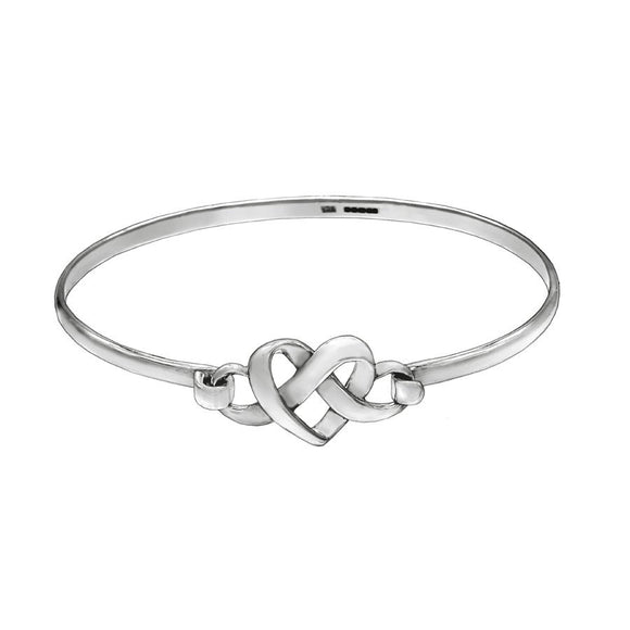 Interlocking Hearts Silver Bangle - Mon Bijoux