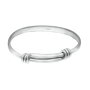 Unisex Spring Back Solid Silver Bangle - XL - Mon Bijoux - Mon Bijoux