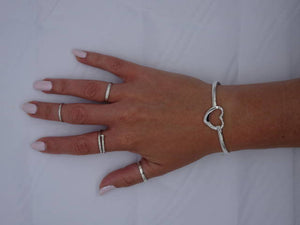 Solid Sterling Silver Large Hollow Heart Bangle - Mon Bijoux - Mon Bijoux