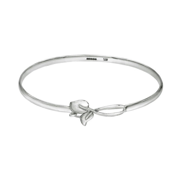 Sterling Silver Leaf Hook Clasp Bangle Bracelet - Mon Bijoux - Mon Bijoux