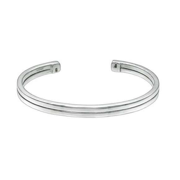 Side by Side - Large Wrist Size Cuff Style Sterling Silver Bangle - Mon Bijoux - Mon Bijoux