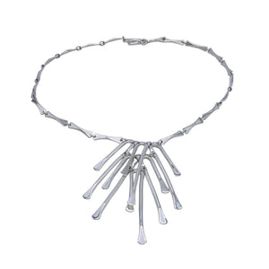 Icicles Stilts with Centrepiece Silver Links Necklace - Mon Bijoux