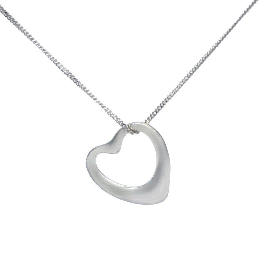 Sterling Silver Hollow Open Heart Necklace - Mon Bijoux - Mon Bijoux