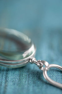 Silver Glass Photo Locket Oval - Mon Bijoux