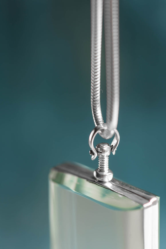 Silver Glass Photo Locket Square - Mon Bijoux