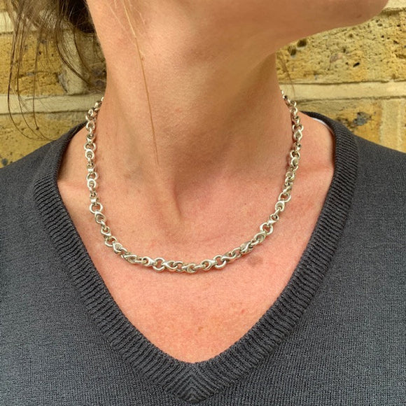 Woven Belcher Style Sterling Silver Chain Necklace - Mon Bijoux