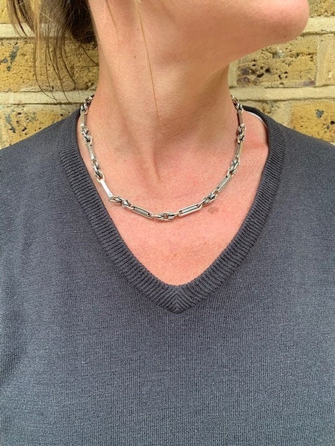 Washboard Sterling Silver Chain Necklace - Mon Bijoux
