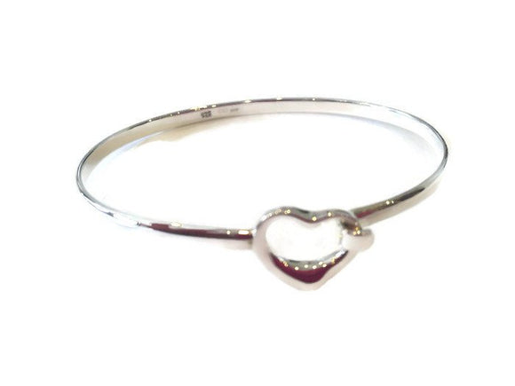 Open Heart Bracelet - Silver Love Heart Bangle - Mon Bijoux - Mon Bijoux