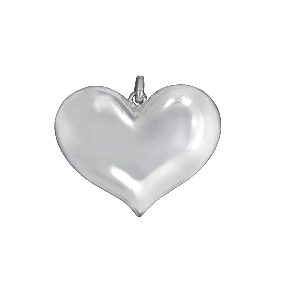 Large Love Heart Puffy Heart Sterling Silver Pendant - Mon Bijoux