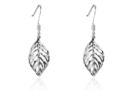 Leaf Drop Sterling Silver Earrings - Mon Bijoux