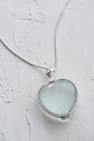 Silver Glass Photo Locket Heart
