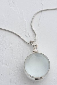 Silver Glass Photo Locket Circle