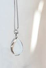 Load image into Gallery viewer, Silver Glass Photo Locket Teardrop