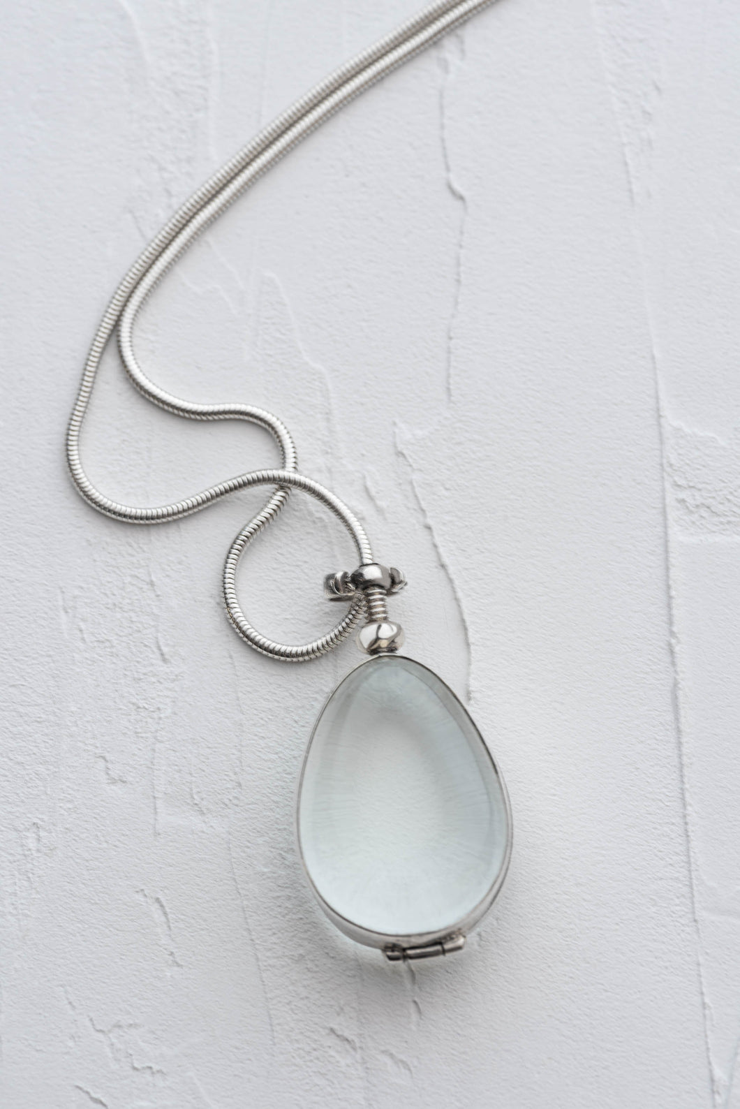 Silver Glass Photo Locket Teardrop
