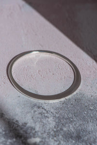 Razor Flat Circle Silver Bangle - Mon Bijoux