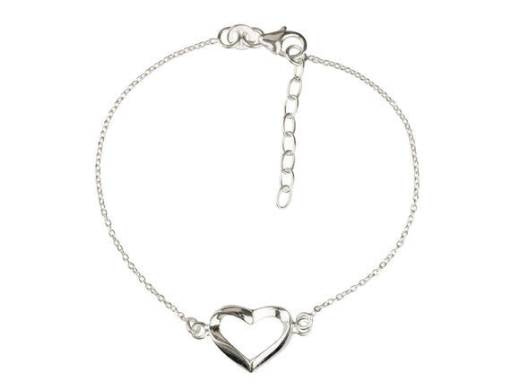 Sterling Silver Bracelet With Open Heart - Mon Bijoux - Mon Bijoux