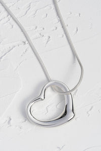 Large Open Heart Solid Silver Pendant