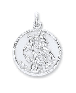 sterling silver st christopher medallion pendant necklace