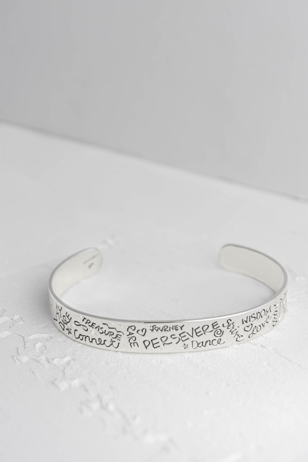 Perseverance Quote Silver Bangle - Mon Bijoux