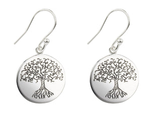 Tree of Life Drop Etched Sterling Silver Earrings - Mon Bijoux