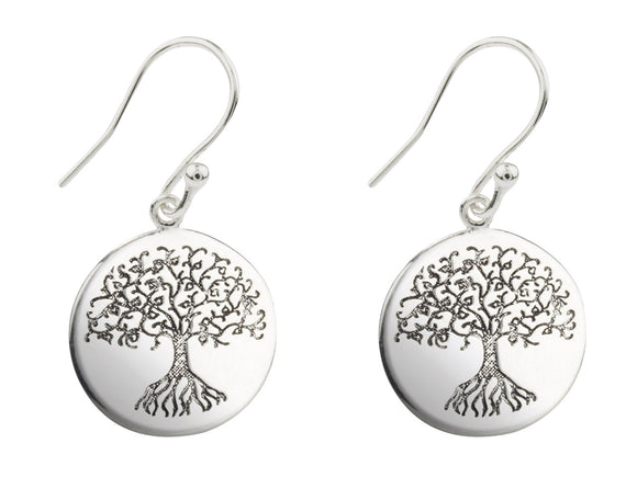 Tree of Life Drop Etched Sterling Silver Earrings