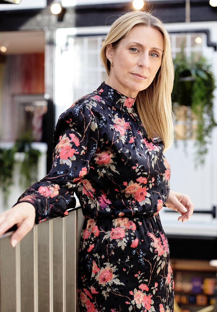 Claire Miles in Ruby Floral Dress