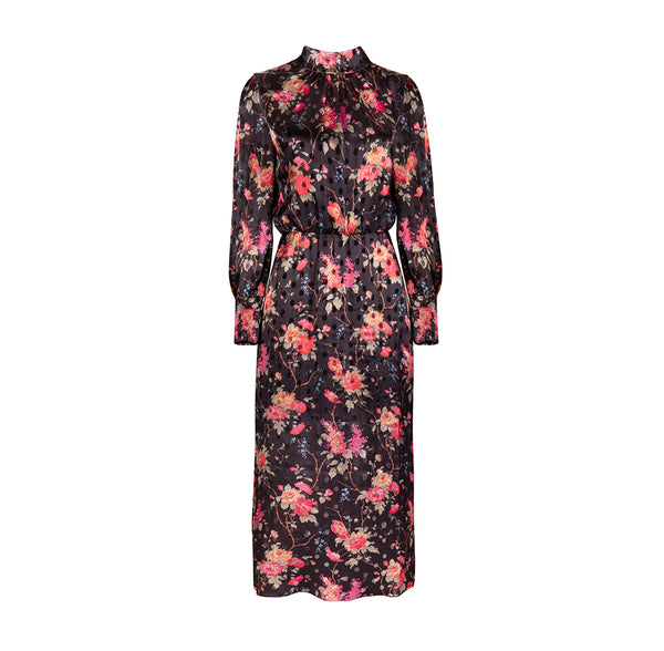 Ruby Silk-Blend Floral Print Midi Dress