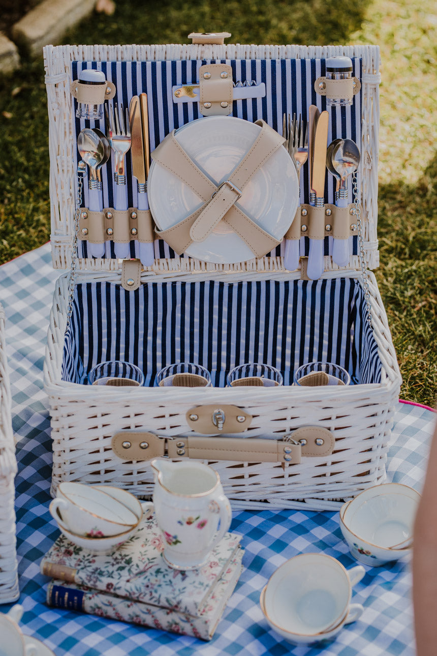White Navy Stripped Picnic Basket