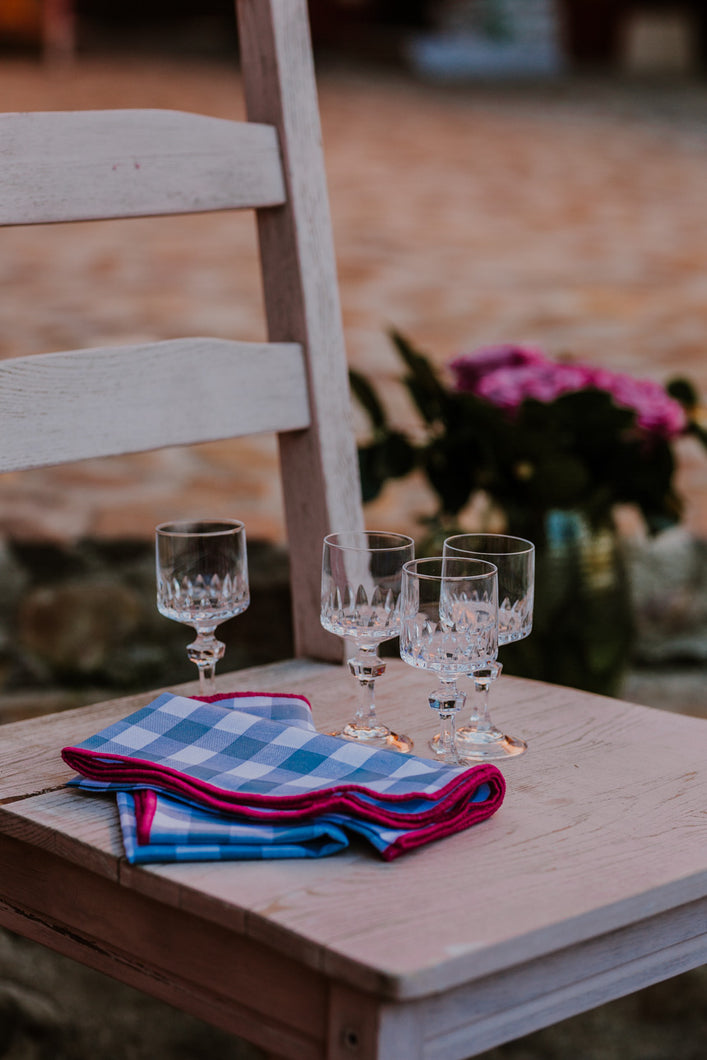 Blue & Bougainvillea Gingham LC Napkins