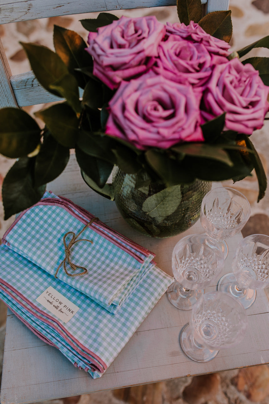 Mint & Rose Gingham SC Tablecloth
