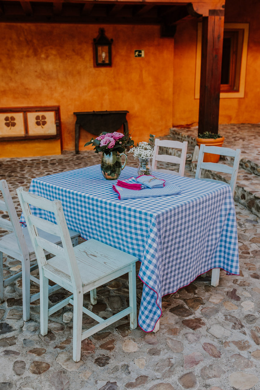 Blue & Bougainvillea Gingham LC Tablecloth