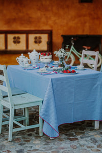 Blue & Bougainvillea Gingham SC Tablecloth